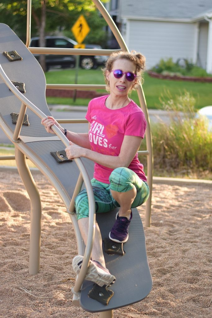 Confused Girl capris at the park
