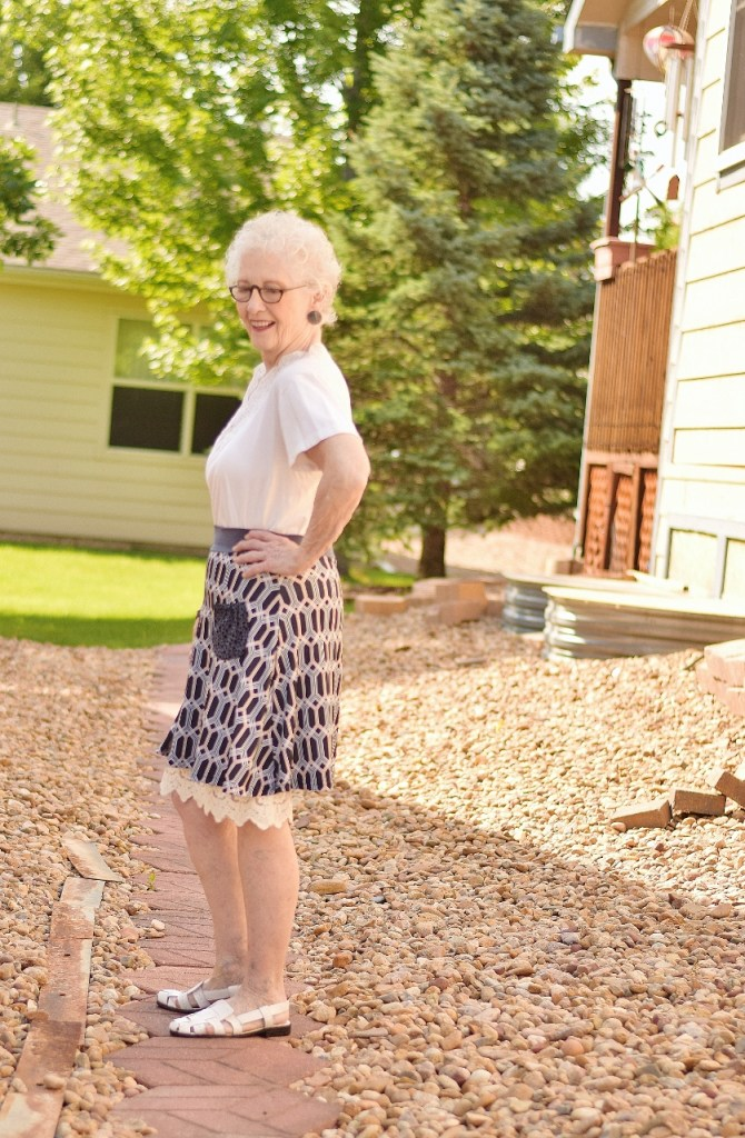 woman 70+ with extender under a skirt