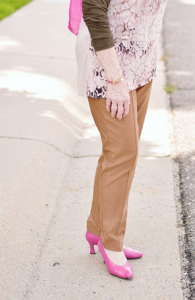 Blush and olive green layered