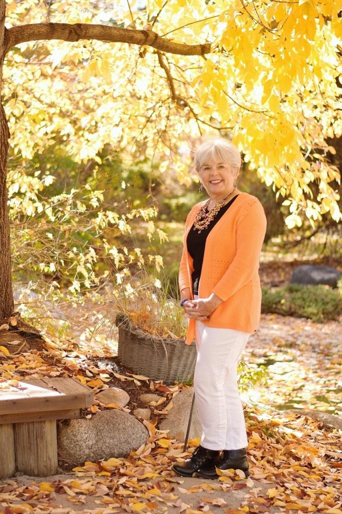 Women 60+ wearing Orange and Black