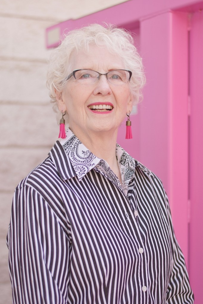 stripes and print mixing for older women