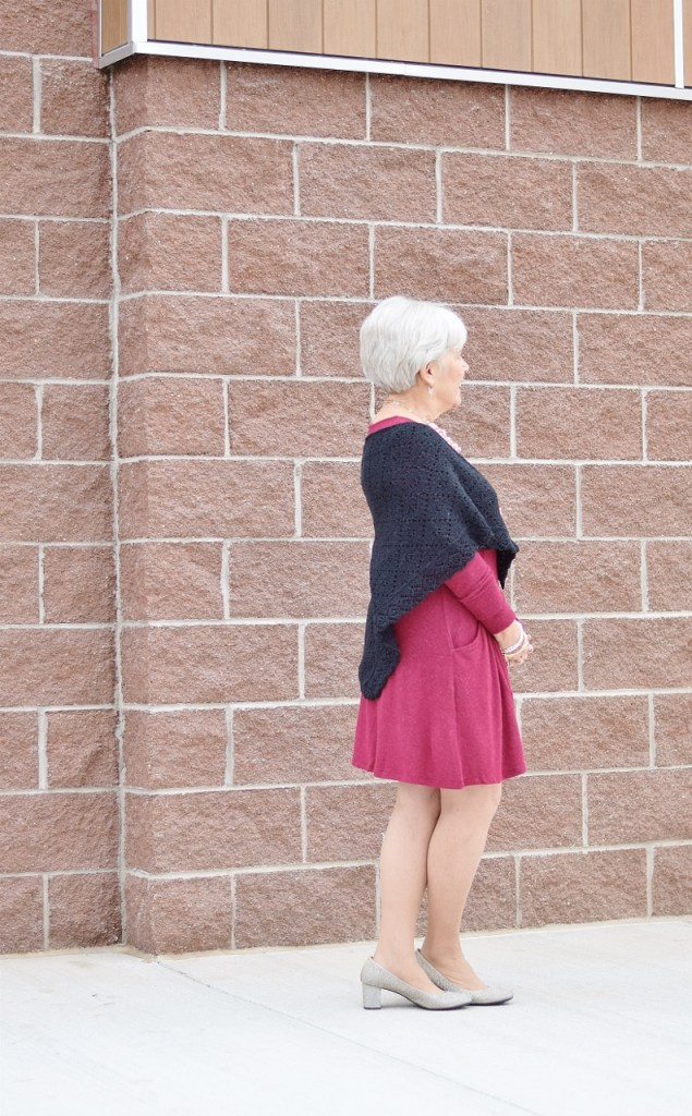 Dressing up for the holidays with a hand knit shawl