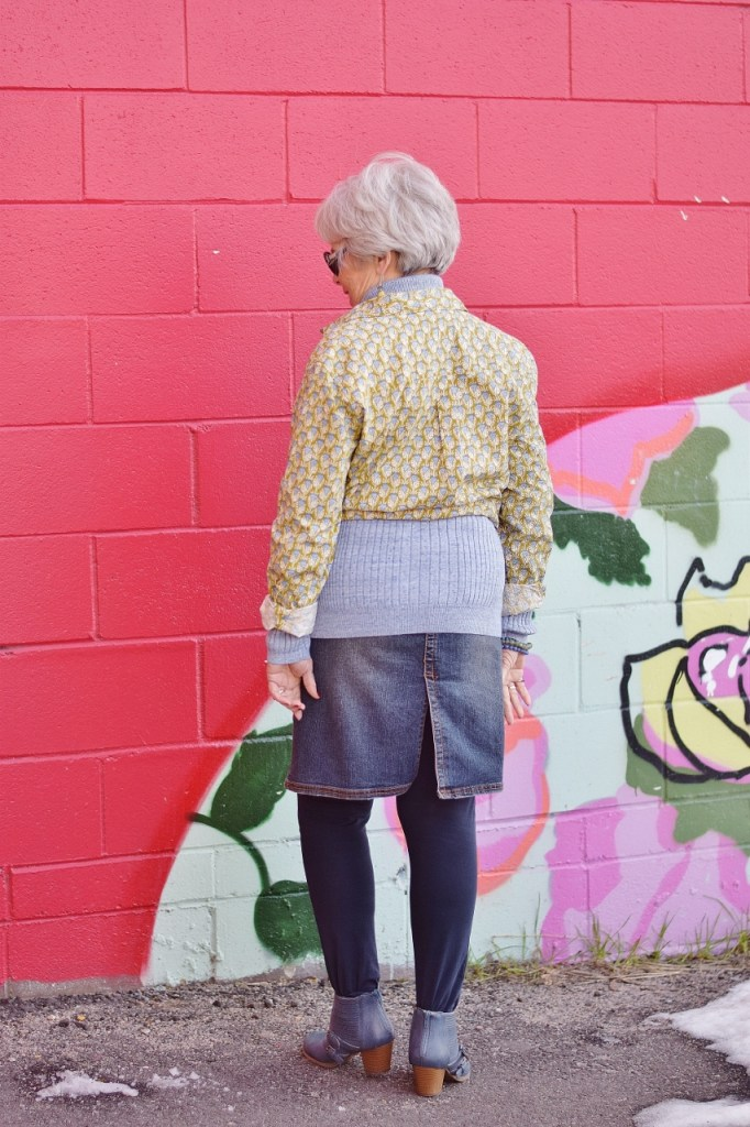 RockFlowerPaper and woman over 60 layering her shirt