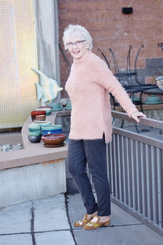 Sweater Weather in blush for women later in life