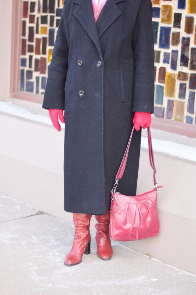 Layer your long coat with contrasting accessories
