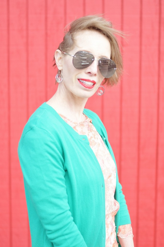 Pink and Green styled for women over 40