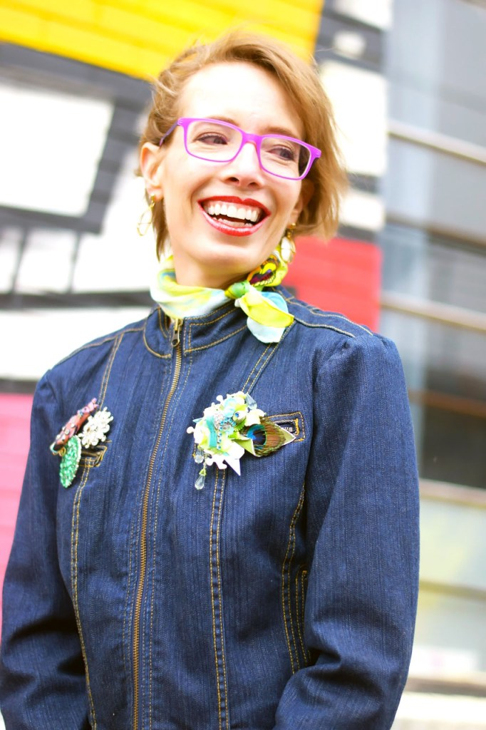 Styling a denim jacket with brooches and pins