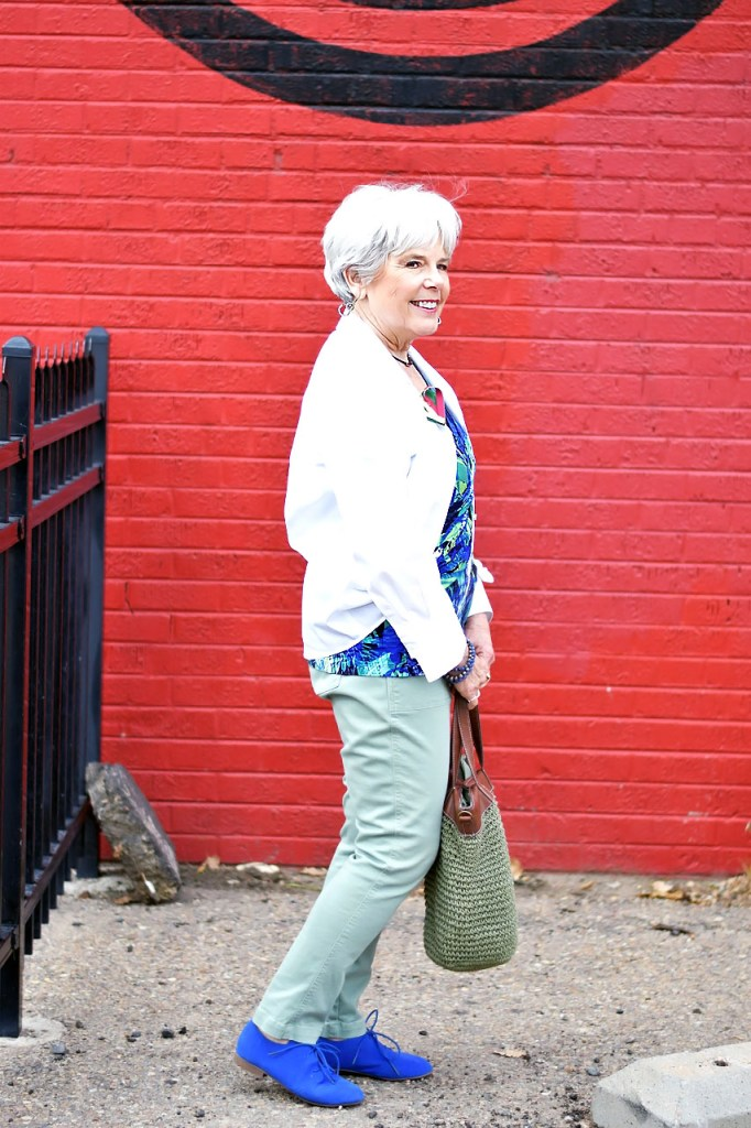 Fashioning A White button down for women over 60