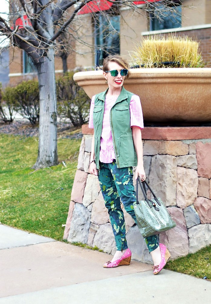 Pink Gingham top and print mixing
