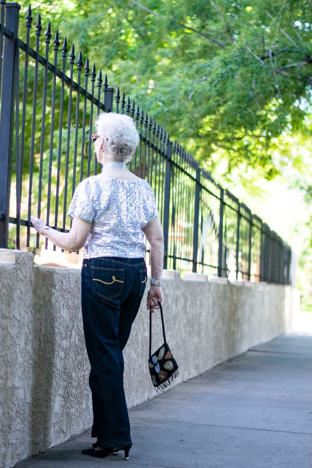 Styling a dressy outfit with jeans for women over 70
