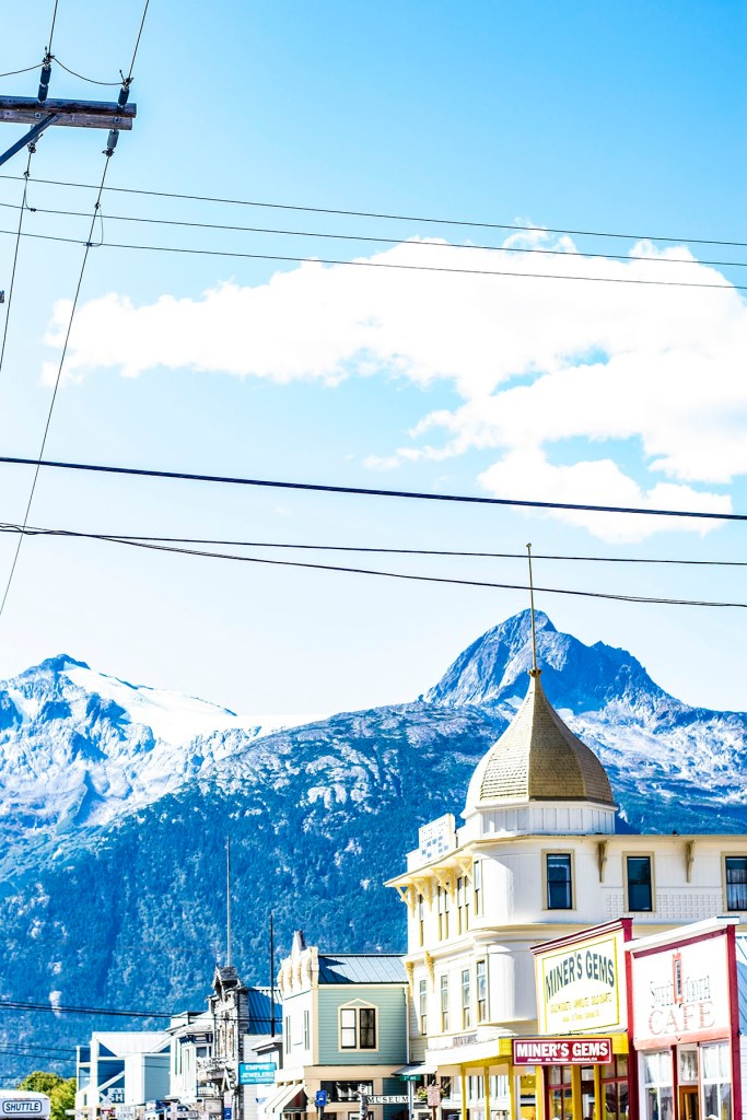 Alaska shore excursions in downtown Skagway in autumn
