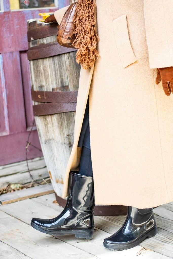 Stylish winter wool coats with rain boots