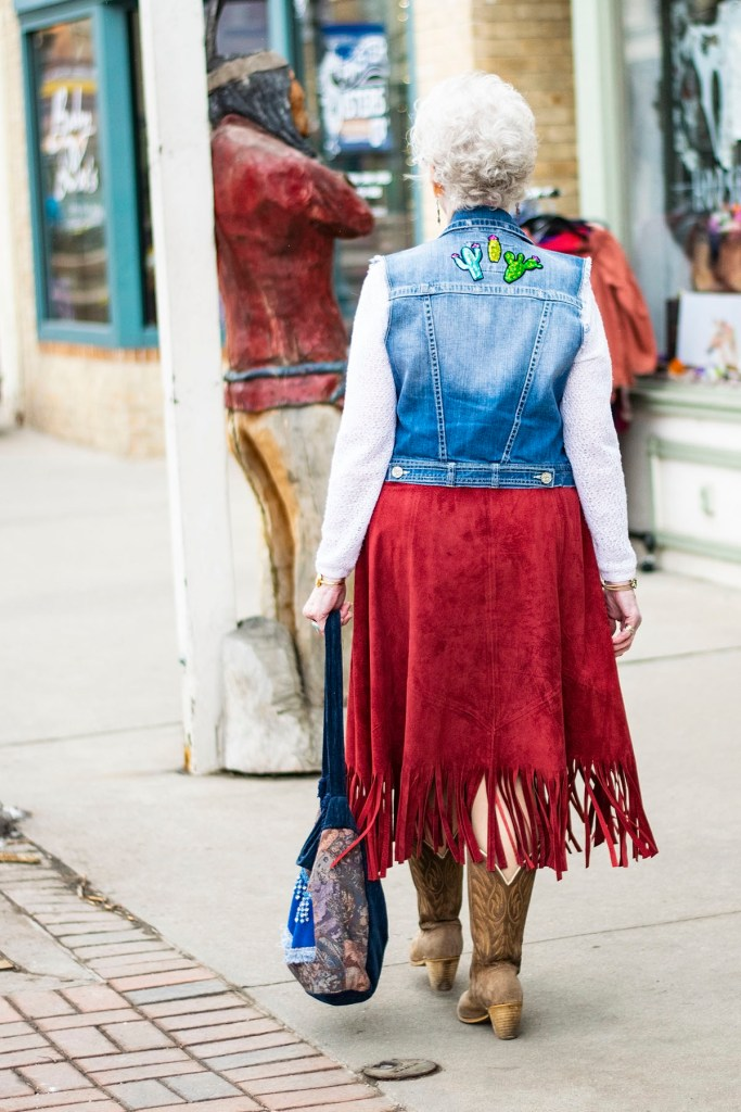 Wearing country western attire with a feminine twist