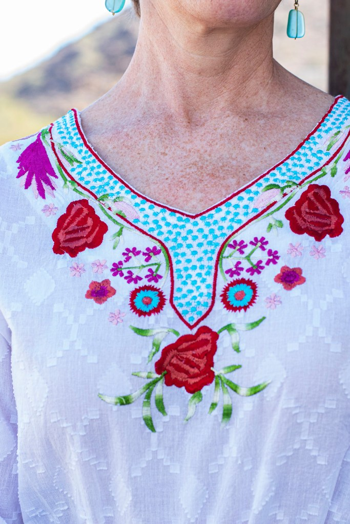 Closeup of embroidery
