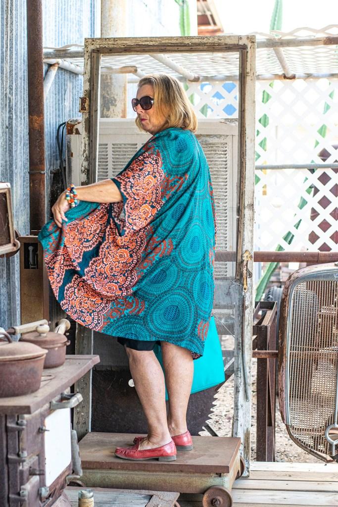 Print kimono for older women