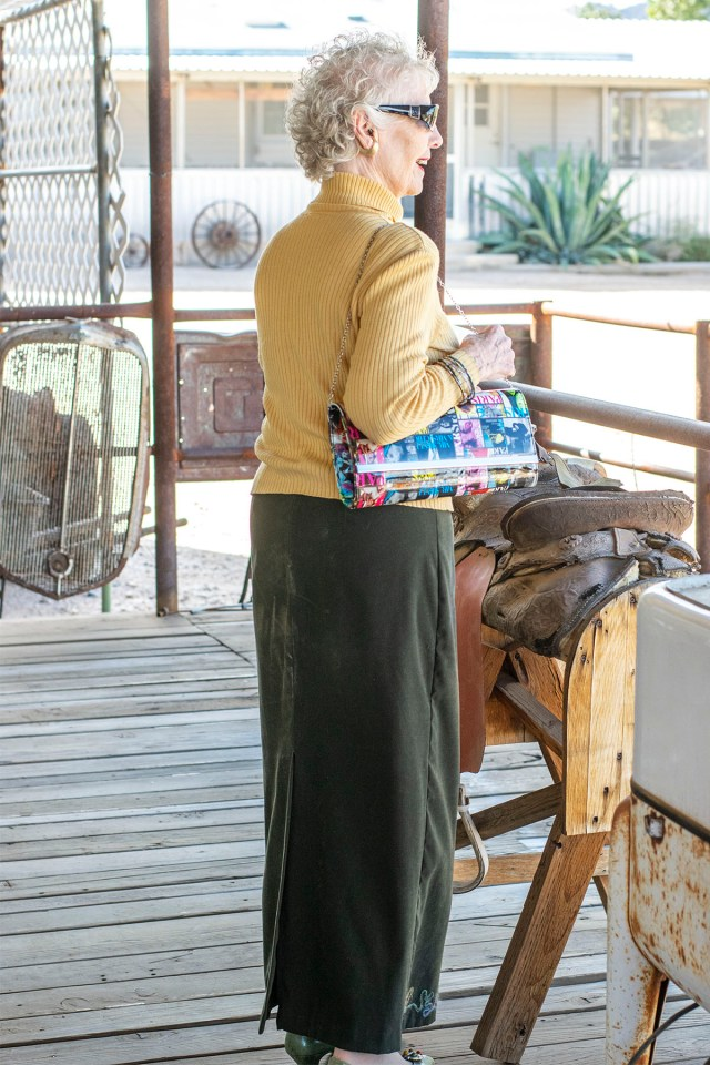 Bohemian style for older ladies with an edgy purse