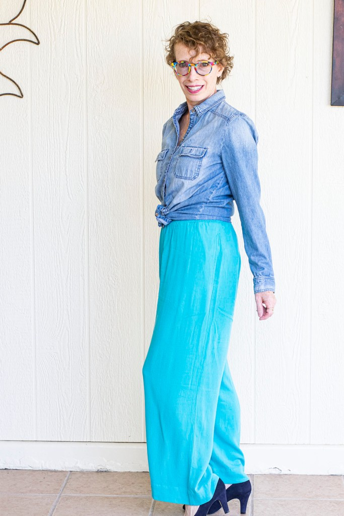 From the side with wide leg pants for curvy women