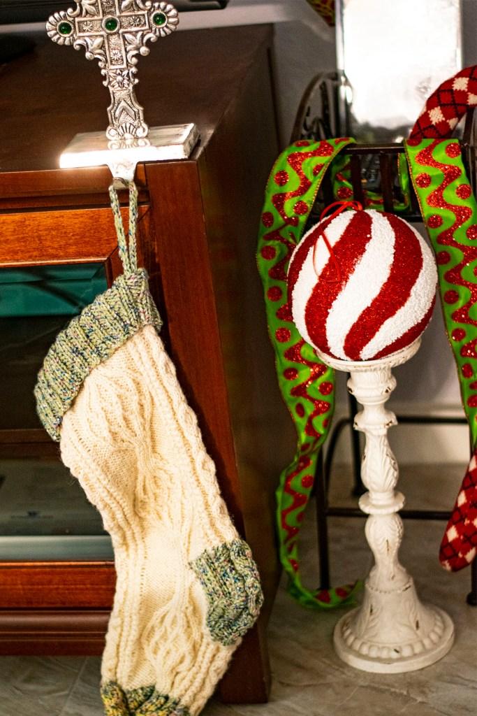 Handknit Christmas stocking