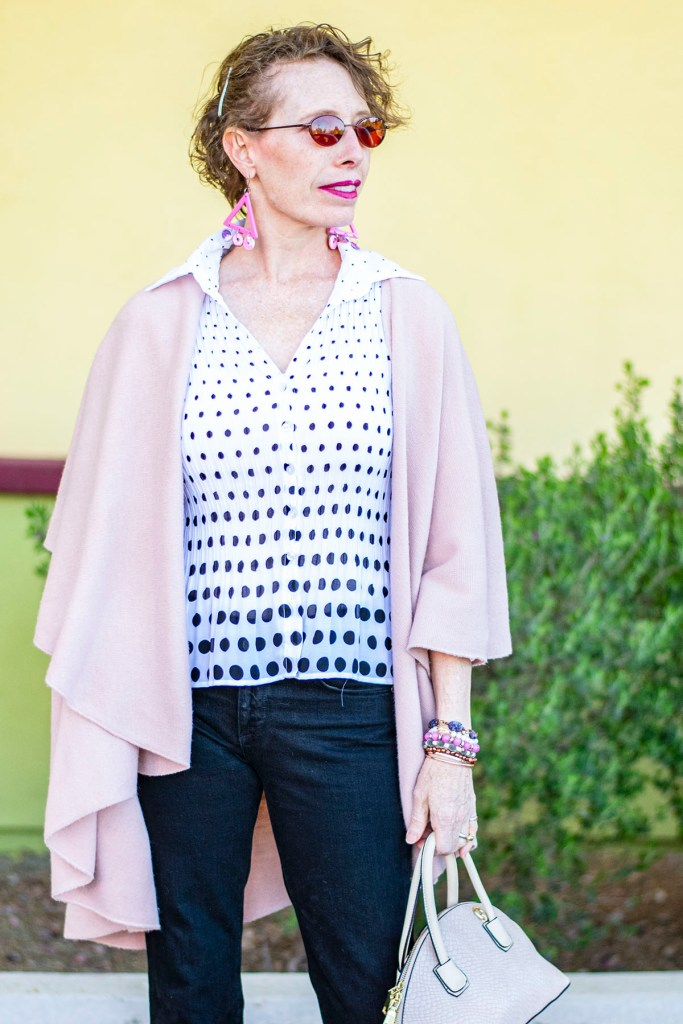 Spring outfit with polka dot fashion