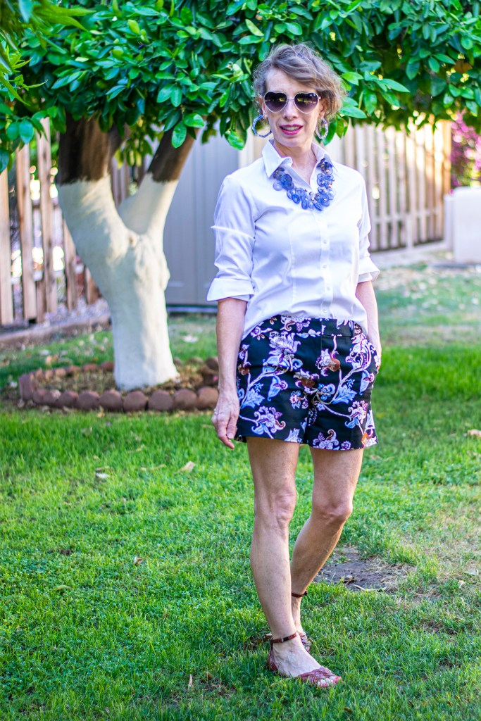 White blouse as what to wear with floral shorts