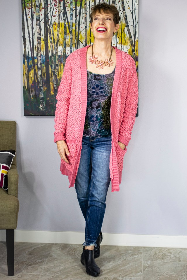 How to wear a long cardigan with skinny jeans