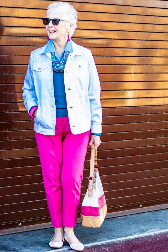 A scarf as inspiration of what colors to wear with hot pink
