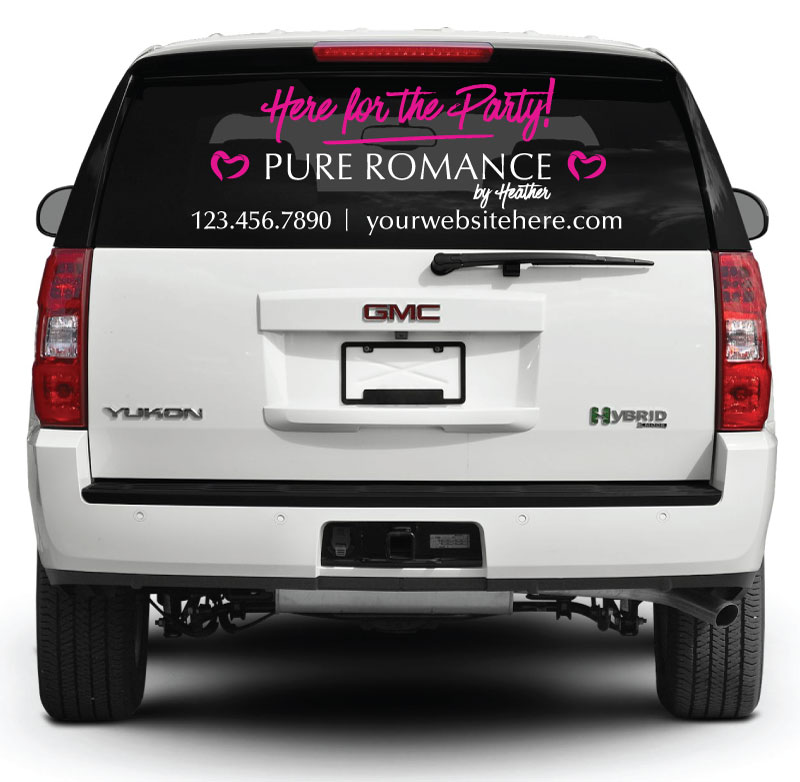 Pure Romance Rear Window Decal Here For The Party Pink Pure - Rear window decals for vehicles
