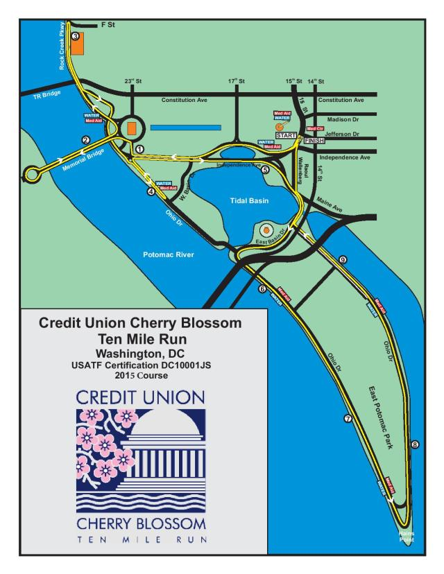 Cherry Blossom 10 Miler Course