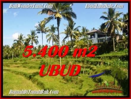 TANAH MURAH JUAL di UBUD BALI 5,400 m2 View Sawah dan sungai lingkungan Villa