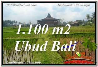 JUAL MURAH TANAH di UBUD 1,100 m2 VIEW SAWAH, LINGKUNGAN VILLA