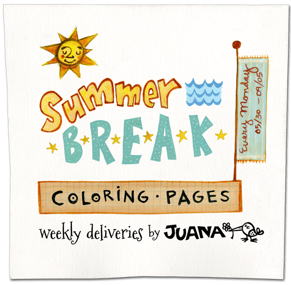 Summer Break Coloring Pages by Juana