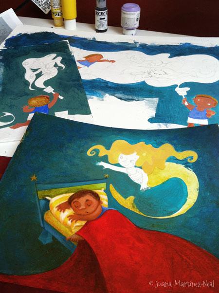 Detail of 3 illustrations for Jorge, el Pintor de Sirenas