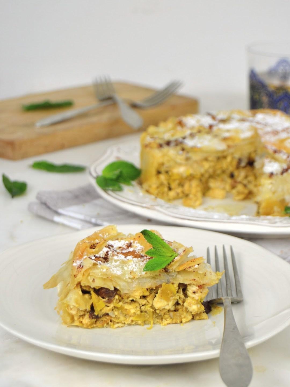 Pastela moruna o pastel árabe de pollo