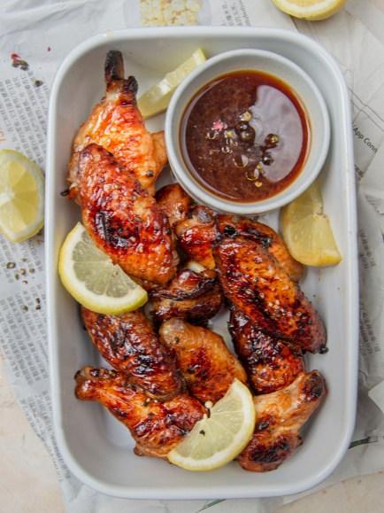 Alitas de pollo al horno con soja, miel y limón