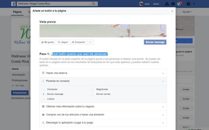 botón de página de facebook