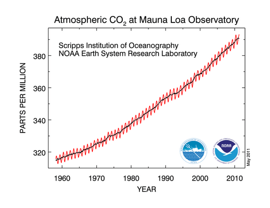 Recent C02 Data at Mauna Loy