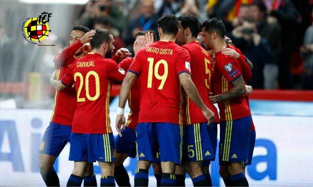 España celebra el primer gol. Foto: RFEF.
