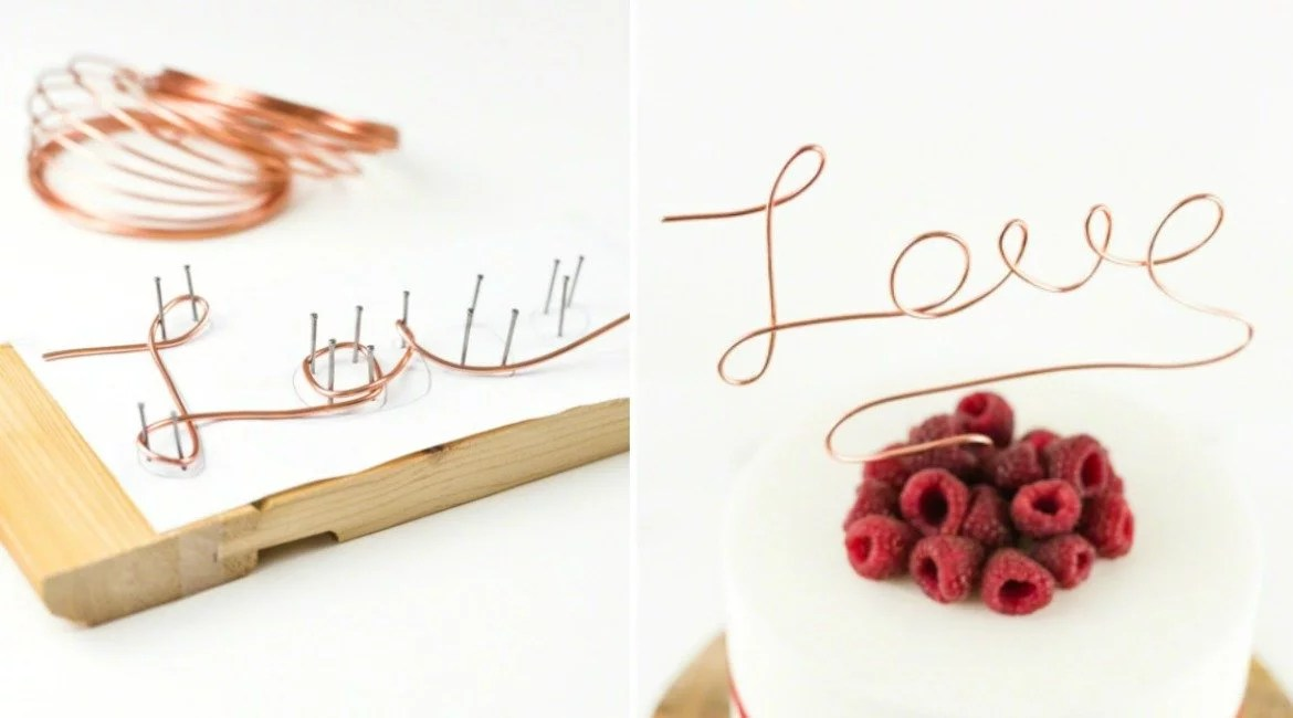 anleitung diy cake topper aus draht in kupfer selbermachen. Black Bedroom Furniture Sets. Home Design Ideas