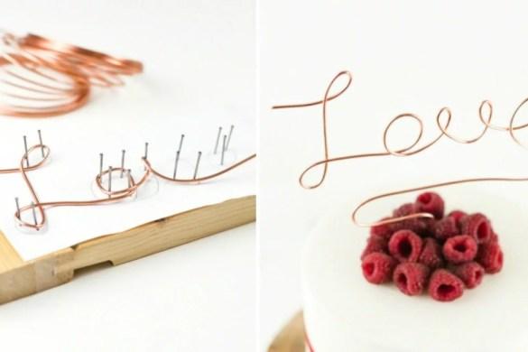 Anleitung wie man einen Cake Topper aus Draht in Kupfer selber biegen kann