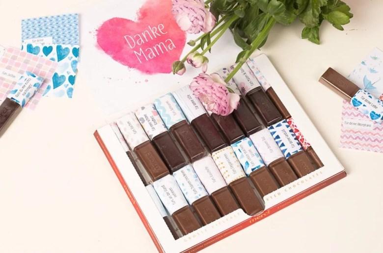Druckvorlage für ein süßes DIY Geschenk zum Muttertag mit Merci Schokolade zum selbst basteln