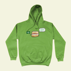 Cream First Scone Devon British Food Hoodie Alien Green