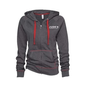 Unisex-Red-Gray-Zip-Up-Hoodie