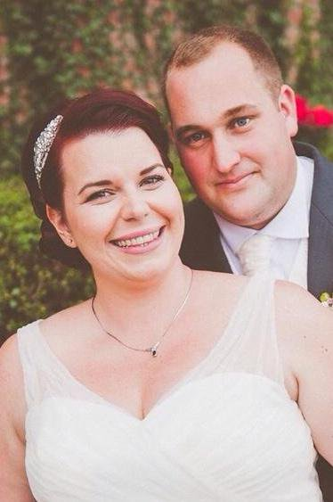 The smile says it all – Victoria and her new husband on their special day
