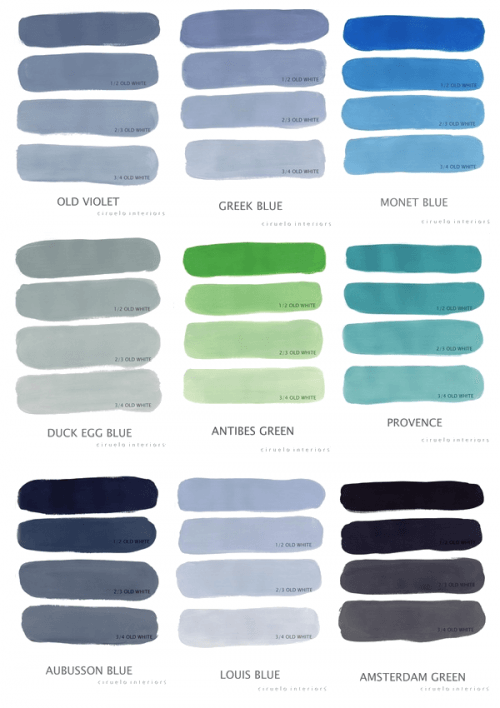 Colour Chart from Annie Sloane Paint