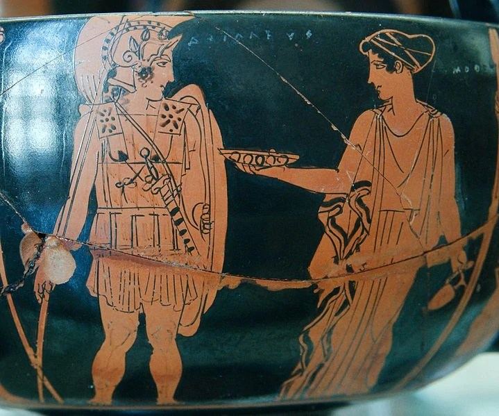 Achilles and a Nereid Attic red-figure vase photo by Marie Lan Nguyen