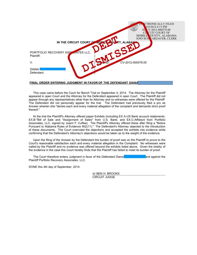 portfolio recovery associates credit card lawsuit defeated alabama