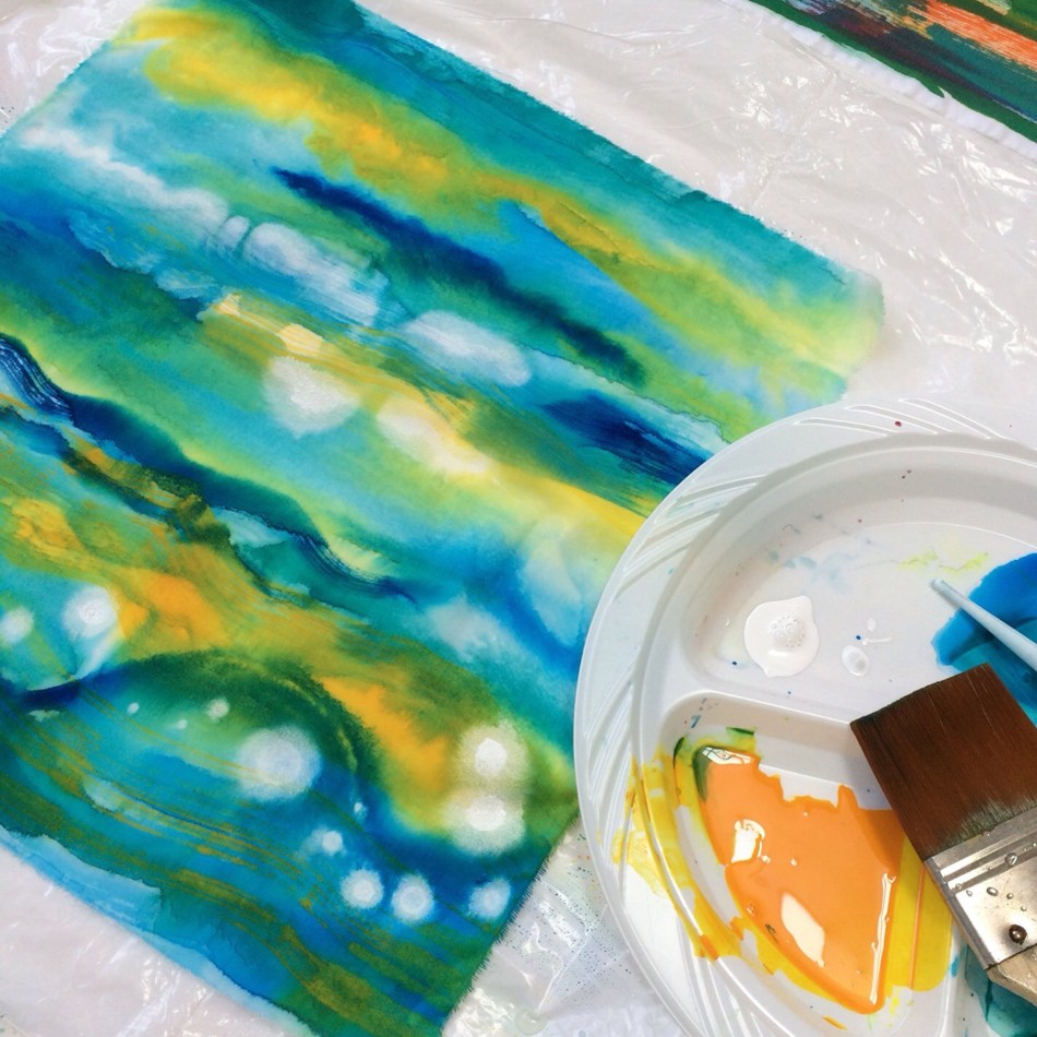 acrylic inks blue greeen
