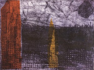 'Homeland': collagraph print with chine collé