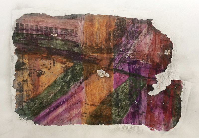 Tower Hamlets IV: image transfer, acrylic and wax crayon on paper