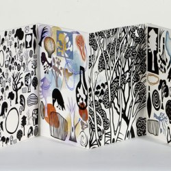 My Landscape - Artist Book (back), 280 X 260 Mm, Lino Print, Watercolour And Collage On Magnani Paper, 2010